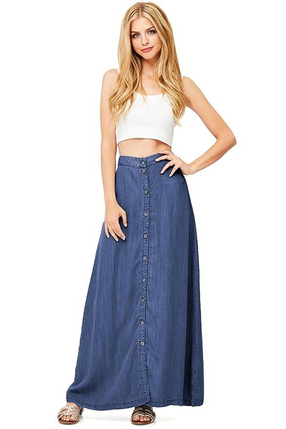 9e3dd132112c LOVE STITCH Women's Juniors Long Denim Maxi Skirt (M, Dark Denim) at Amazon  Women's Clothing store: