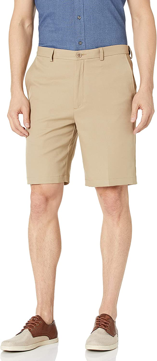 Haggar Mens Cool 18 Pro Straight Fit Stretch Solid Flat Front Short Flat Front Shorts