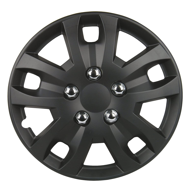Unitec 7485 Piece Sepang 4-Juego de Tapacubos Cap 100% Plástico ABS Negro Mate, 4 Unidades 16