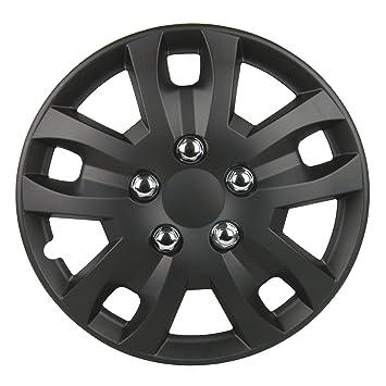 Unitec 7485 Piece Sepang 4-Juego de Tapacubos Cap 100% Plástico ABS Negro Mate