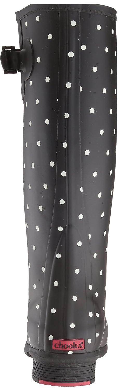 Chooka Women's Tall Memory Foam Rain Boot B01MTZNNZO 7 B(M) US|Dot Blanc Black