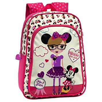 Disney Minnie Fan Mochila Escolar Adaptable a Carro, Color Blanco, 19.2 litros: Amazon.es: Equipaje