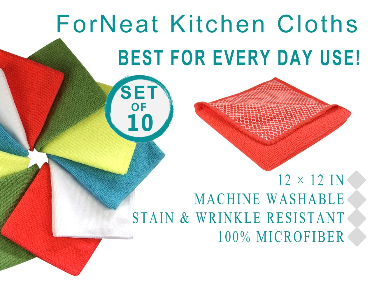 ForNeat Dish Cloths Microfiber Kitchen Towels, Dish Rags Scrub Side, HIGH ABSORBENT, LINT-FREE, STREAK-FREE 12 12-Inch, 10-Pack by ForNeat (Image #2)
