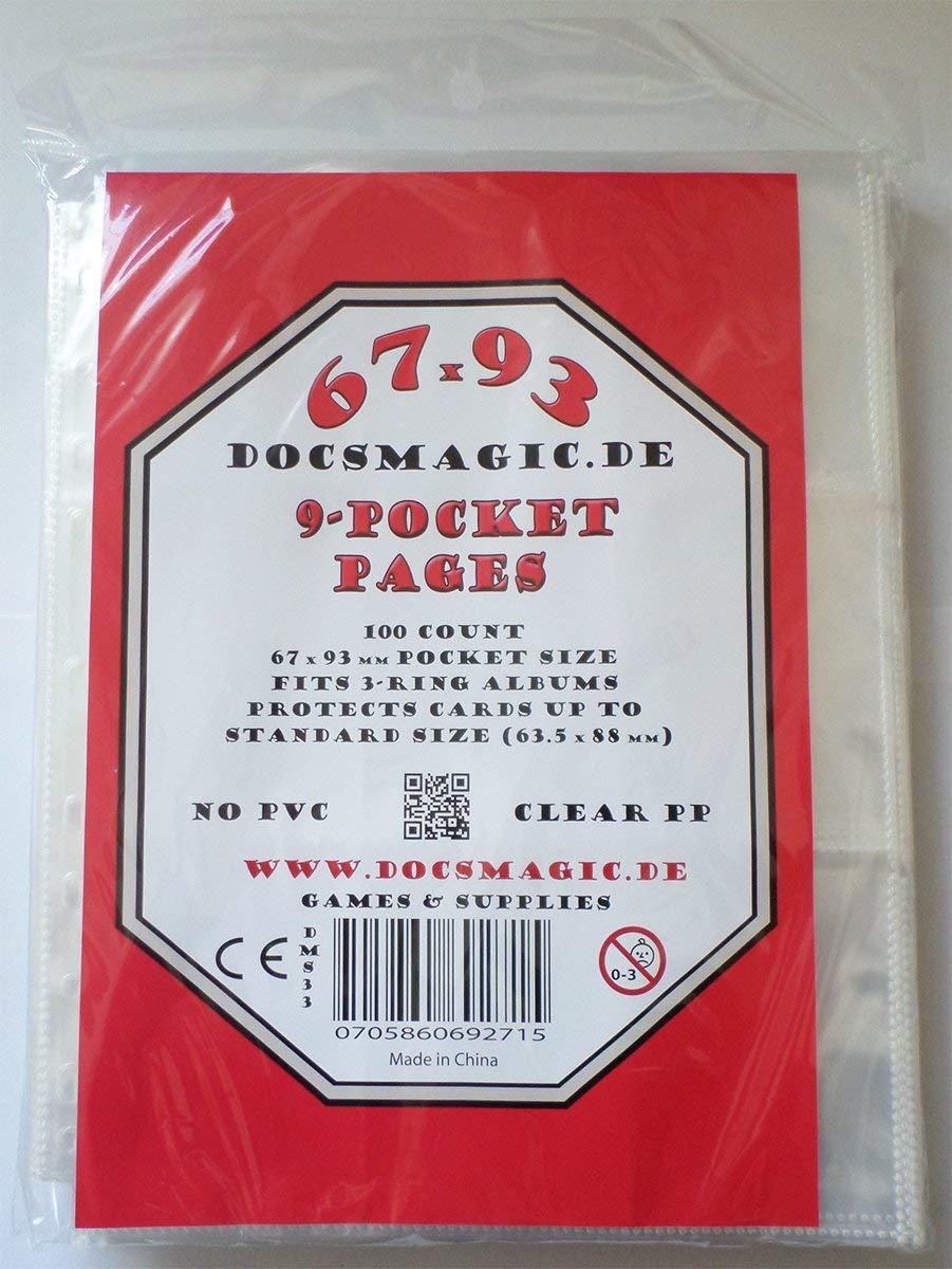 11-Hole docsmagic.de 10 Premium Small Size 9-Pocket Pages 3-Ring Album Feuilles de classeur 9 Pochettes YU-Gi-Oh