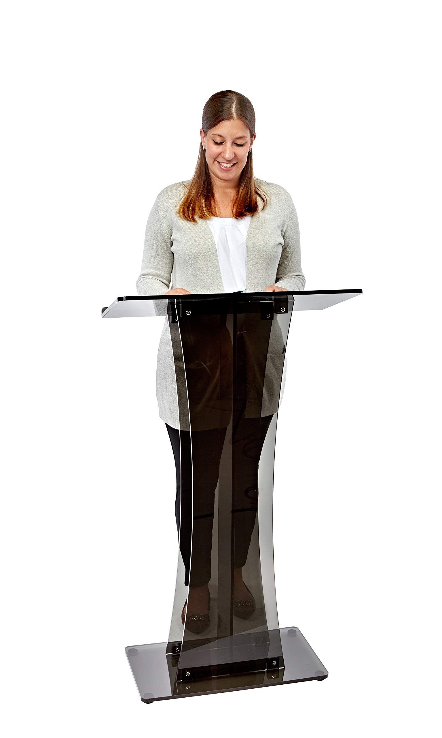 AdirOffice Acrylic Stand up, Floor-Standing Podium, Lectern (See Through Black)