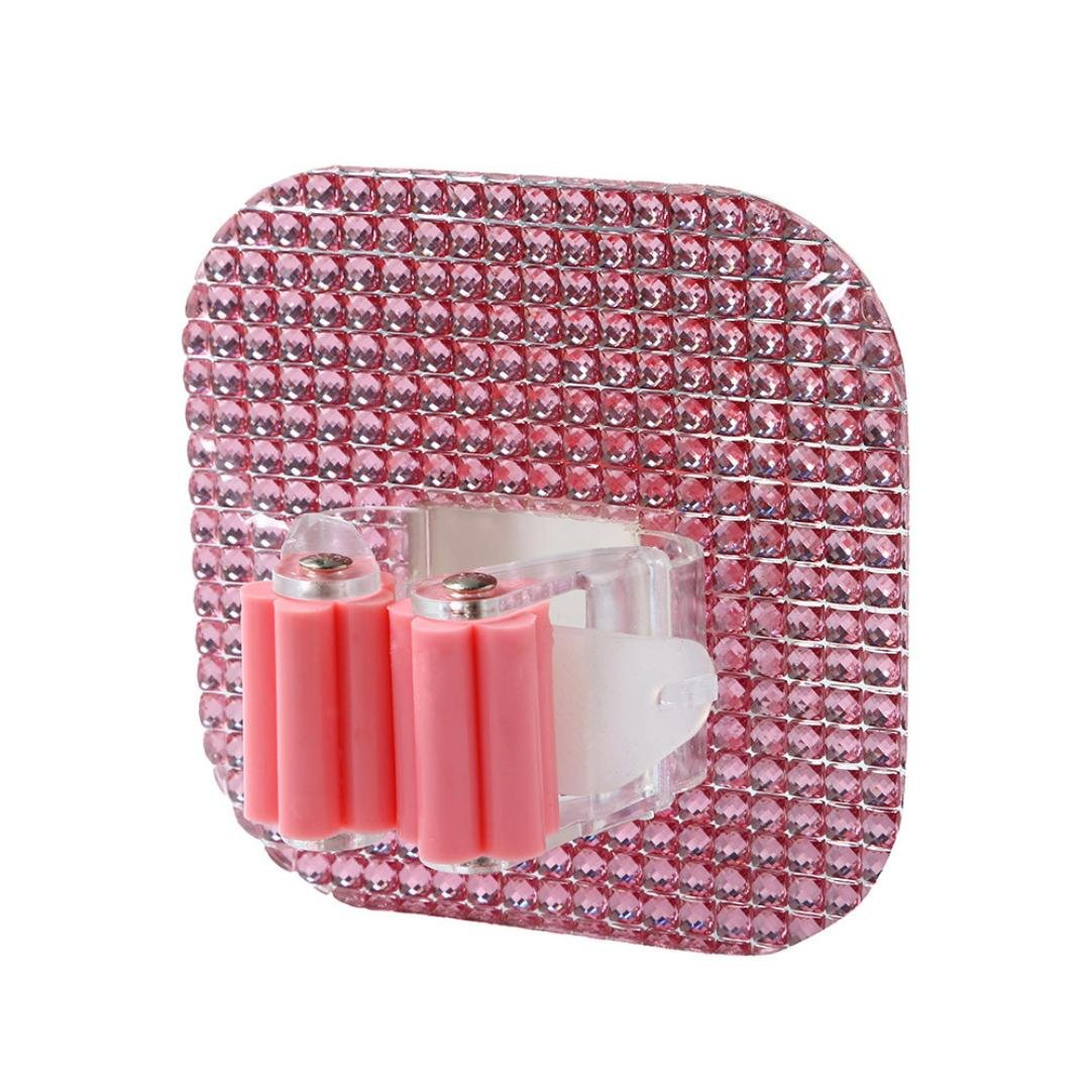Broom Hanger,Chartsea Wall Mounted Mop Organizer Holder Brush Broom Hanger Storage Rack Kitchen Tool (Pink)
