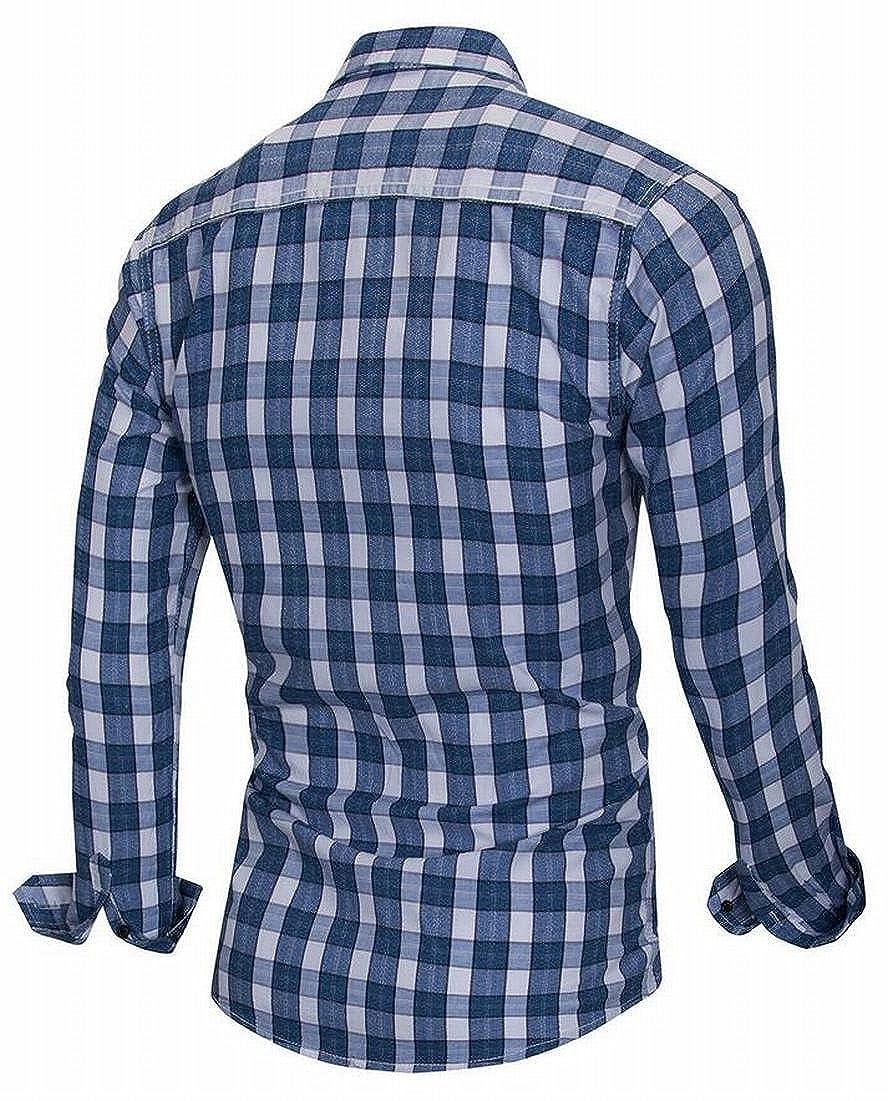 Frieed Mens Regular Fit Leisure Long Sleeve Plaid Button Down Dress Shirts