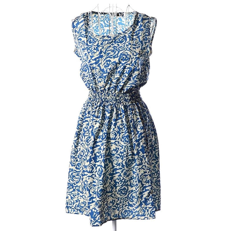 Frauen Kleid,Xinan 1PC Sommer-Frauen beiläufige Chiffon- Sleeveless Art und Weise Blumen-Strand-Kleid