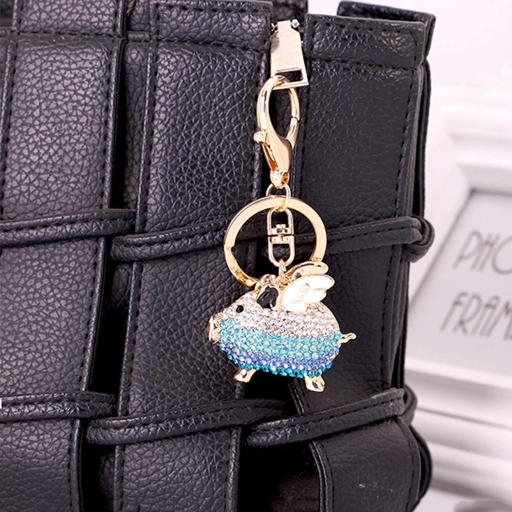ZHOUBA Rhinestone Inlaid Flying Pig Keychain Key Ring Holder Hanging Decoration Blue White