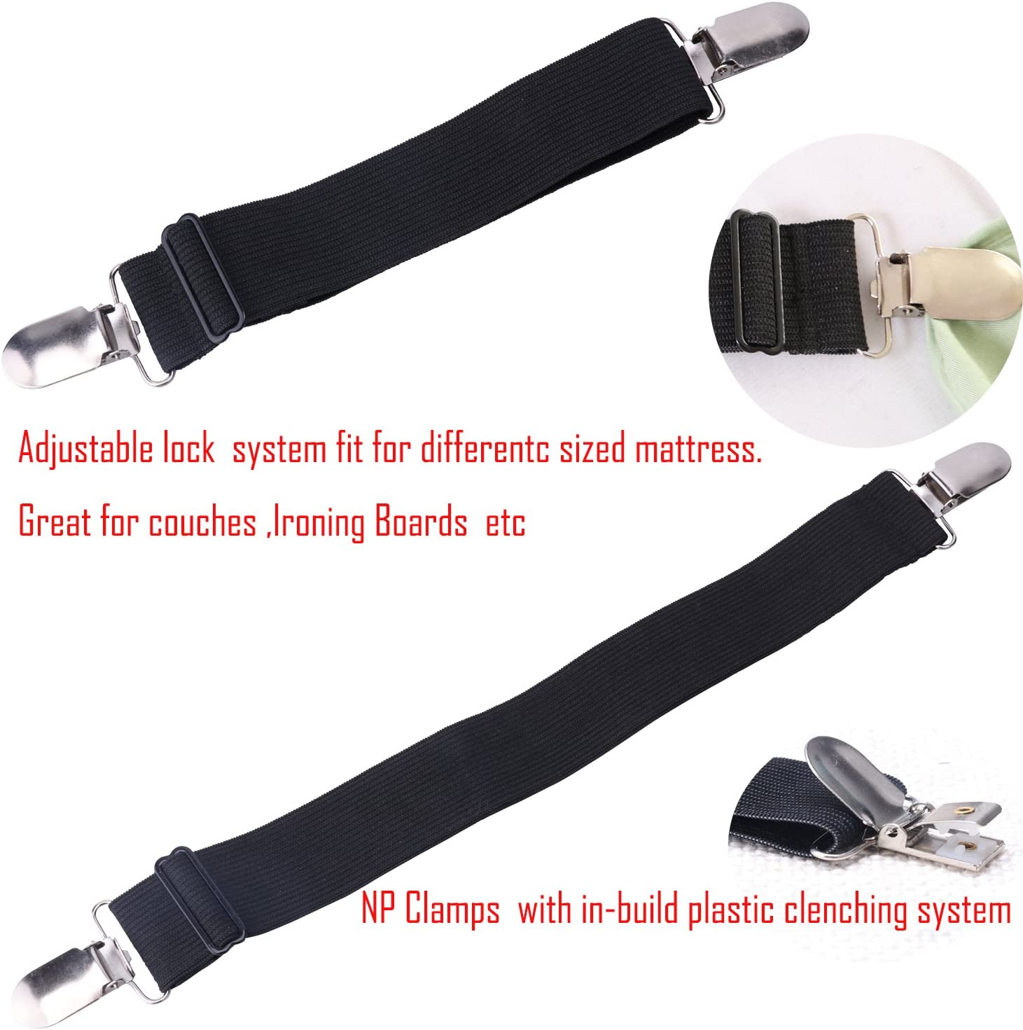 Elastic Bed Sheet Straps Clips Adjustable Heavy Duty Grippers Straps Suspender Fasteners Holder to Keep Your Sheet in Place and Neat 4 Pack Black