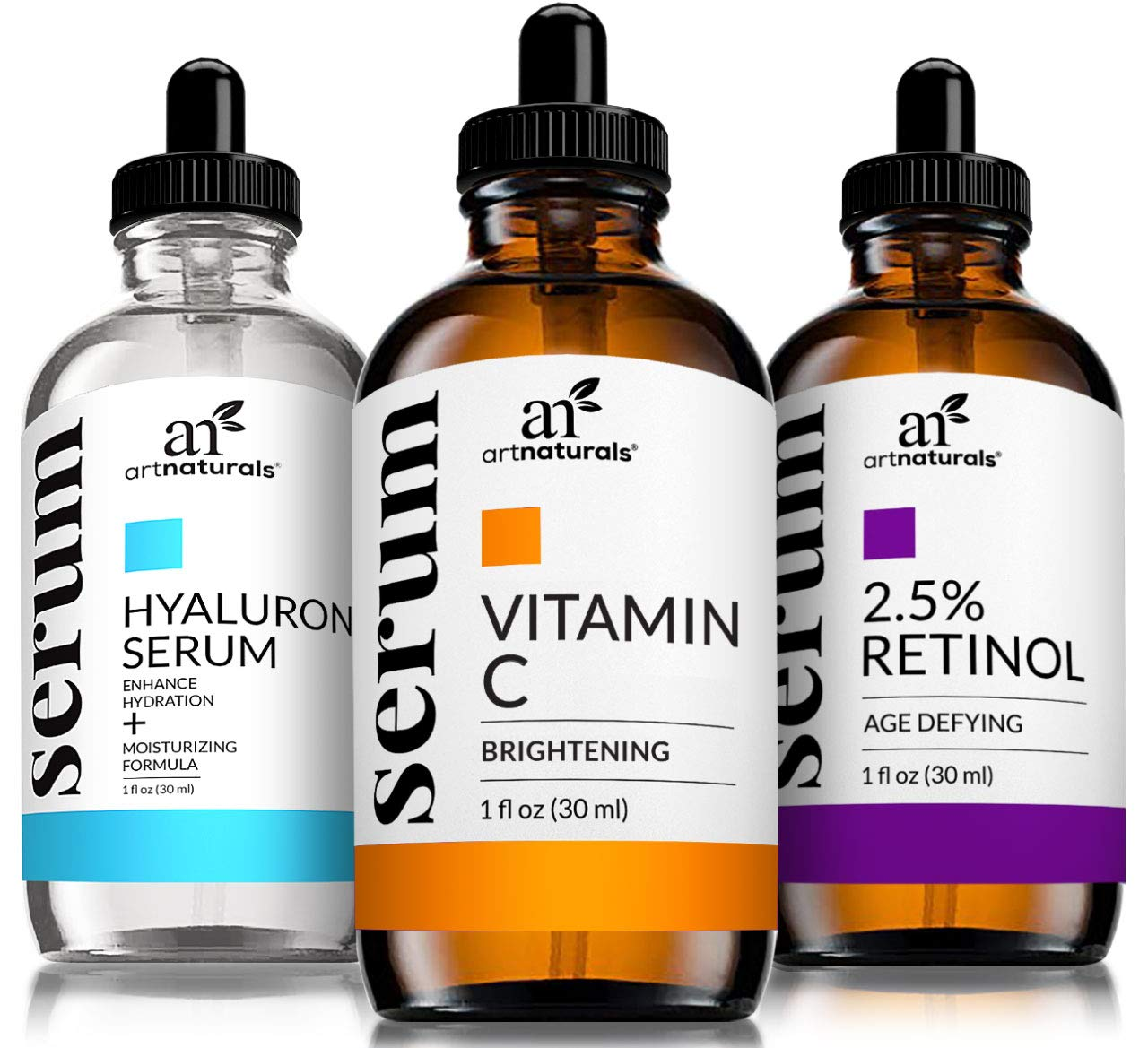 ArtNaturals Anti-Aging-Set with Vitamin-C Retinol and Hyaluronic-Acid - (3 x 1 oz) Serum for Anti Wrinkle and Dark Circle Remover - All Natural and Moisturizing by ArtNaturals