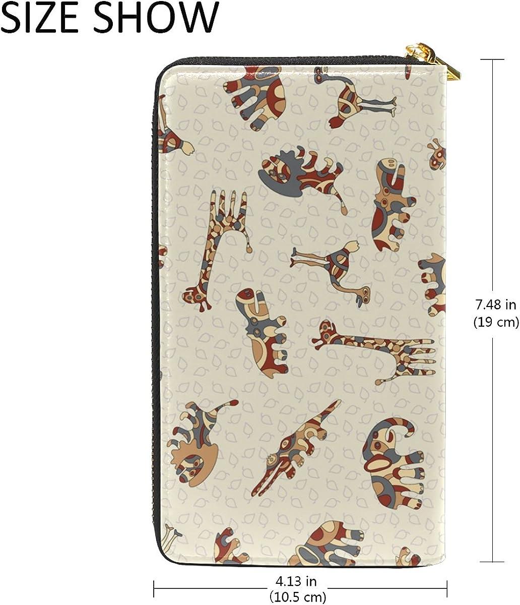 GIOVANIOR Colorful Giraffe Lion Elephant Print Womens Clutch Purses Organizer And Handbags Zip Around Wallet