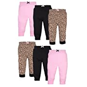 Luvable Friends Girls 6 Pack Tapered Ankle Pants, Leopard, 3-6 Months