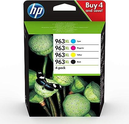 HP 3HZ52AE Lot de 4 Cartouches dencre dorigine compatible avec HP OfficeJet CMYK