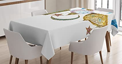 Ambesonne Lantern Tablecloth, Traditional Arabic Lanterns With Star Moon  Shapes Original Oriental Design, Dining