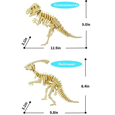 3D Dinosaur Puzzle Crafts Painting Toys Set 2pc DIY Wooden Dinosaur Skeleton Model Puzzle for Kids Educational Toys Boy Girl Adults Gifts 2pc