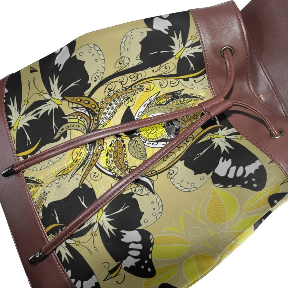 PU Leather Shoulder Bag,Black Butterfly With Floral Pattern Backpack,Portable Travel School Rucksack,Satchel with Top Handle