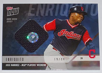 313ad4e39ff Image Unavailable. Image not available for. Color  2018 Jose Ramirez Topps  Now Game Used Indians Players Weekend Jersey ...