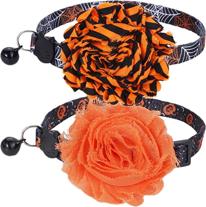 BoomBone 2 Pack Thanksgiving Cat Collar,Safety Puppy Collars Breakaway with Bell