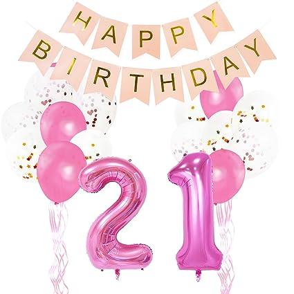 KUNGYO Decoraciones Rosadas para Fiestas de Cumpleaños 21 Años - Bandera del Happy Birthday Globos de Gran Número 21 Globos de Confeti Látex Cintas ...