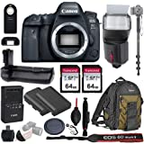 """Canon EOS 6D Mark II Wi-Fi DSLR Camera Body - with Pro Battery Grip, TTL Flash, Canon Pro Backpack,128GB Memory, LP-E6N Replacement Battery, 72"""" Monopod, RC-6 Wireless Remote, and More. (19 Items)"""
