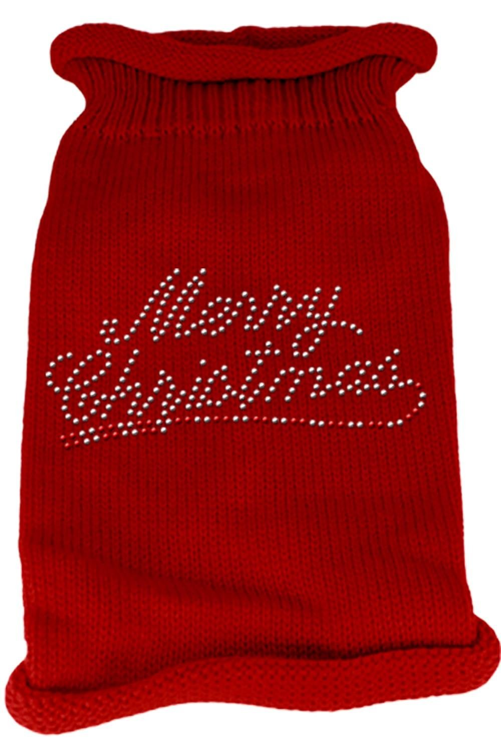 Mirage Pet Products Merry Christmas Rhinestone Knit Pet Sweater, X-Small, Red