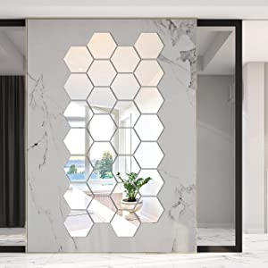 36 Pieces Removable Thicken Hexagon Mirror Wall Sticker Decals, 126 x 110 x 63 mm, Acrylic 3D Living Room Bedroom Decor, Silver