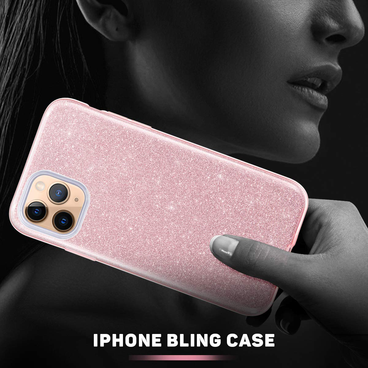 Anti-Slick//Protective Case for iphone 11 Pro Max 6.5Inch-Gold MATEPROX iphone 11 Pro Max Case Glitter Sparkle Sparkly Bling Cute,3 Layer Hybrid