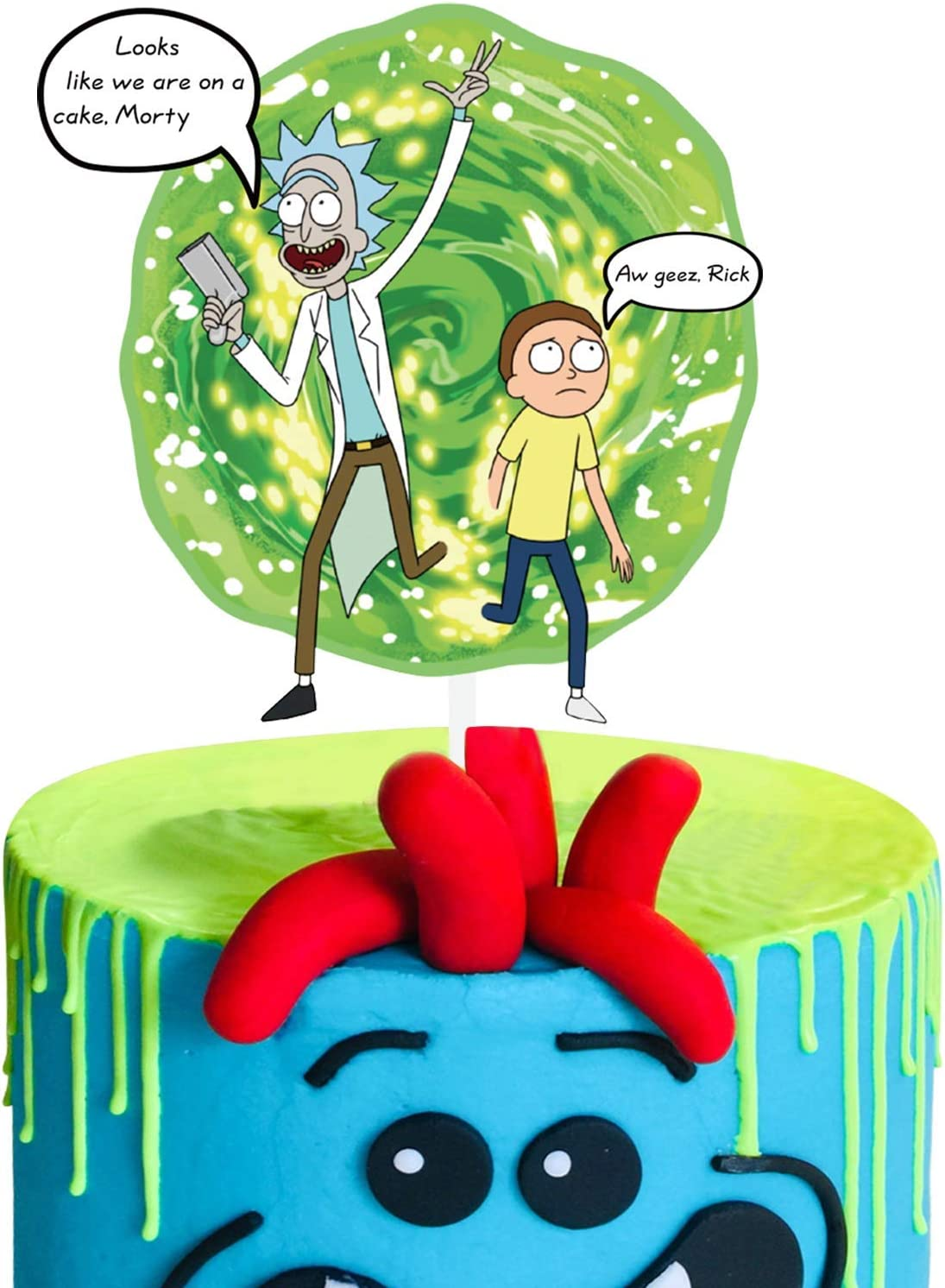 Acrylic Rick and Morty Happy Birthday Cake Topper Rick & Morty Portal Theme Cake Decor Birthday Party Animation Decoration Suppliers