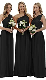 caf9fb156a07 liangjinsmkj Women s One Shoulder Long Bridesmaid Dress Asymmetric Chiffon  Evening Party Gowns