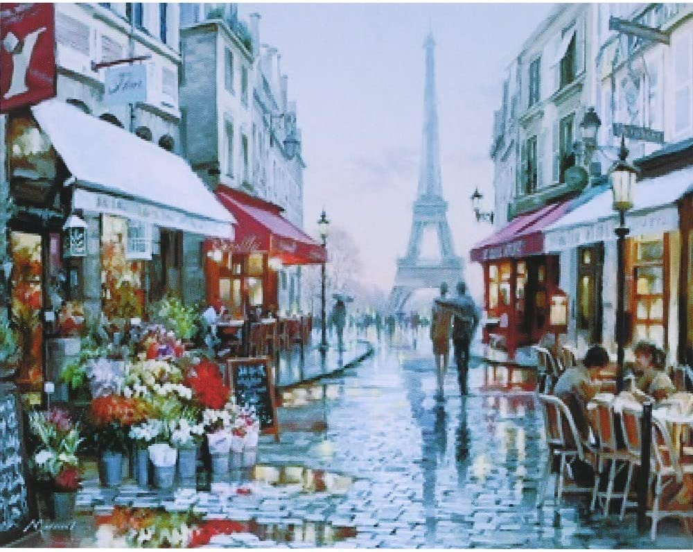 Amazon Com Dingq Frameless Diy Digital Oil Painting 16 20 Romantic Paris Hand Painted Cotton Canvas Paint By Number Kit Home Office Wall Art Paintings Decor Paintings