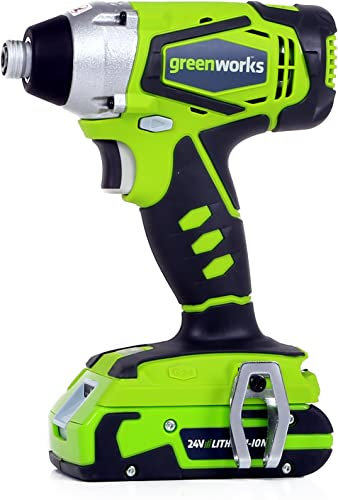 Greenworks 24V Cordless Impact Driver, 2.0 AH Battery Included 37032C
