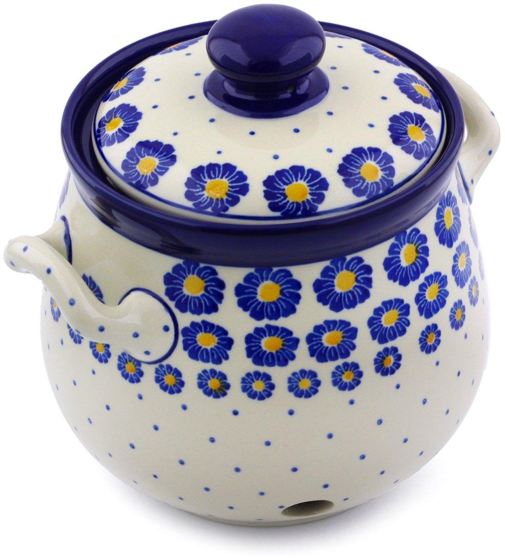 Polish Pottery 7¼-inch Garlic and Onion Jar made by Ceramika Artystyczna (Wreath Of Blue Theme) + Certificate of Authenticity by Polmedia Polish Pottery