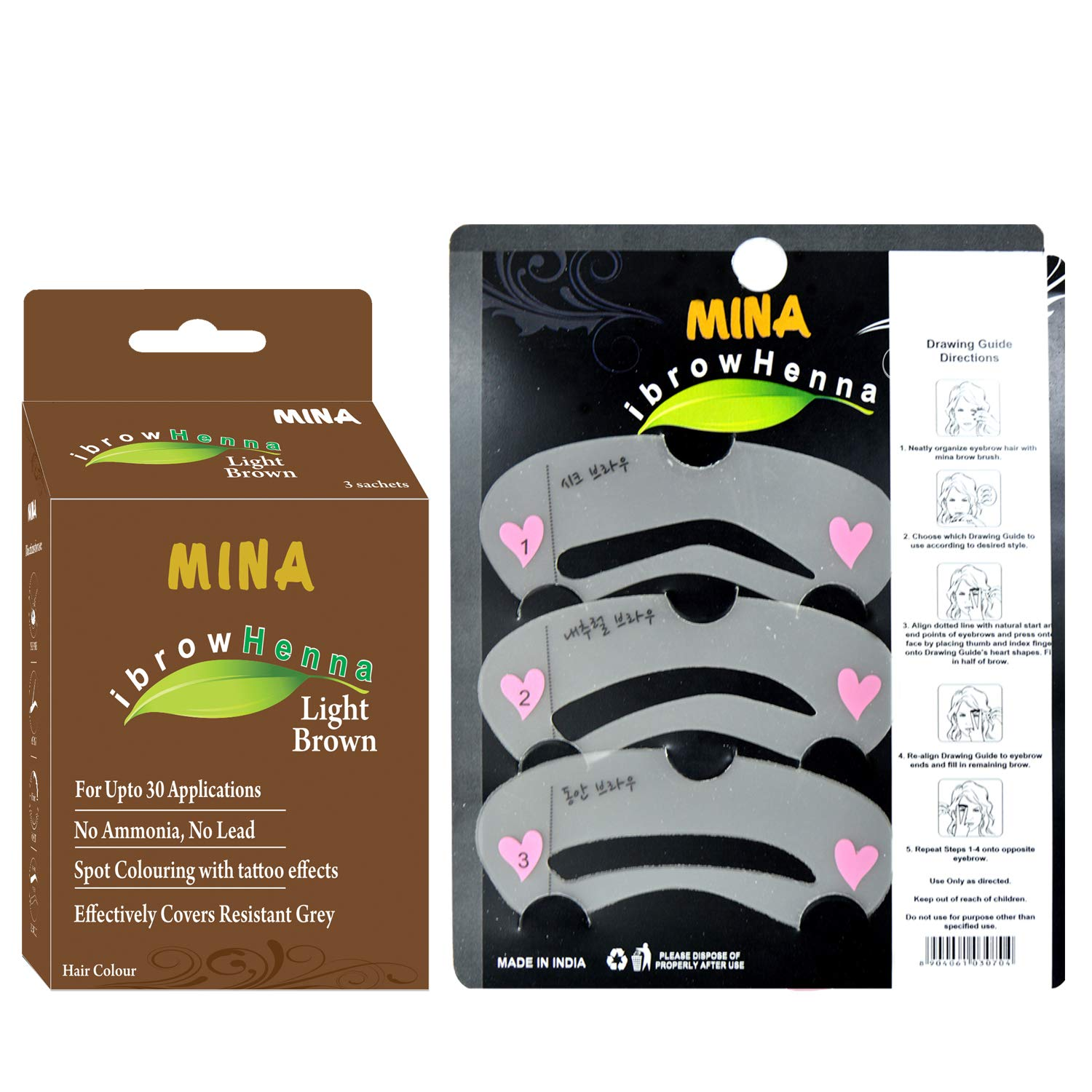 Mina ibrow Henna Tinting Kit & Regular Pack Light Brown with Eyebrow Stencils-Combo Pack by Mina