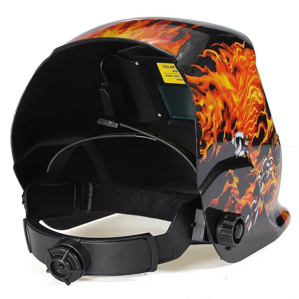 SODIAL R Automatic solar welding helmet welding solar welding mask Flame Skull