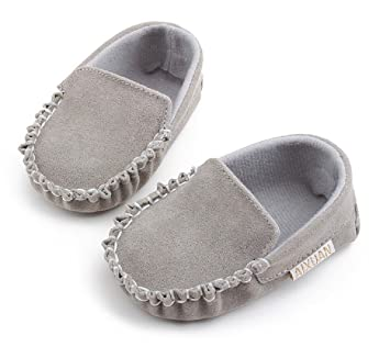 Amazon.com : Hot PU Suede Leather Newborn Baby Boy Girl Baby Moccasins Soft Moccs Shoes Bebe Fringe Soft Soled Non-slip Footwear Crib Shoe (3, Grey) : Baby