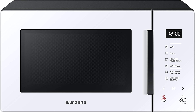Samsung MG23T5018AW - Horno microondas de 23 litros, 1100 W, cocción automática y Home Dessert, Glass Design, blanco