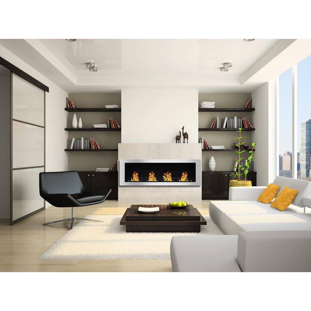 amazon com elite flame luxe recessed ventless bio ethanol wall