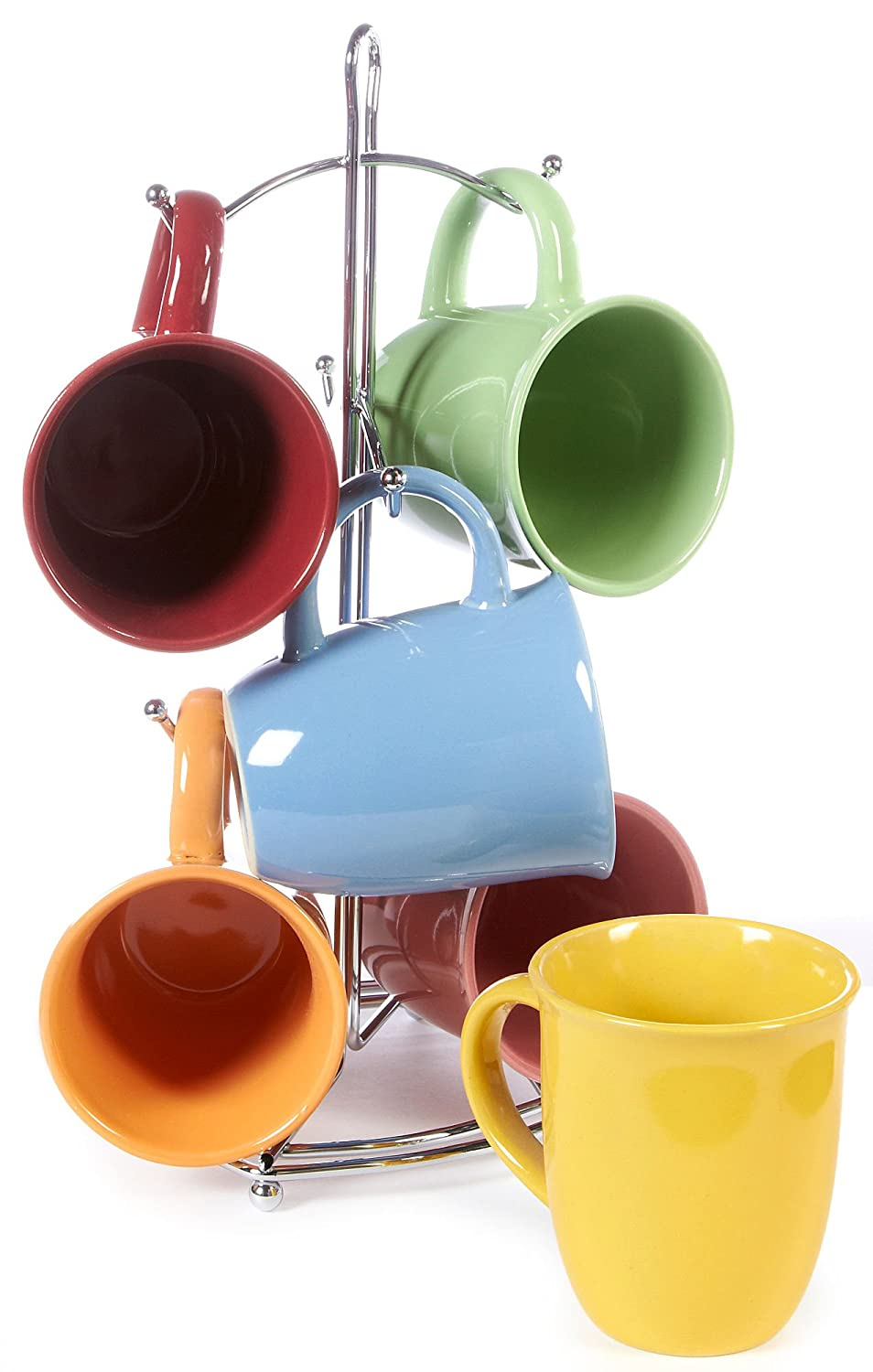 Amazon.com | Color Curve Mug with Metal Rack (Assorted) by Gibson ...