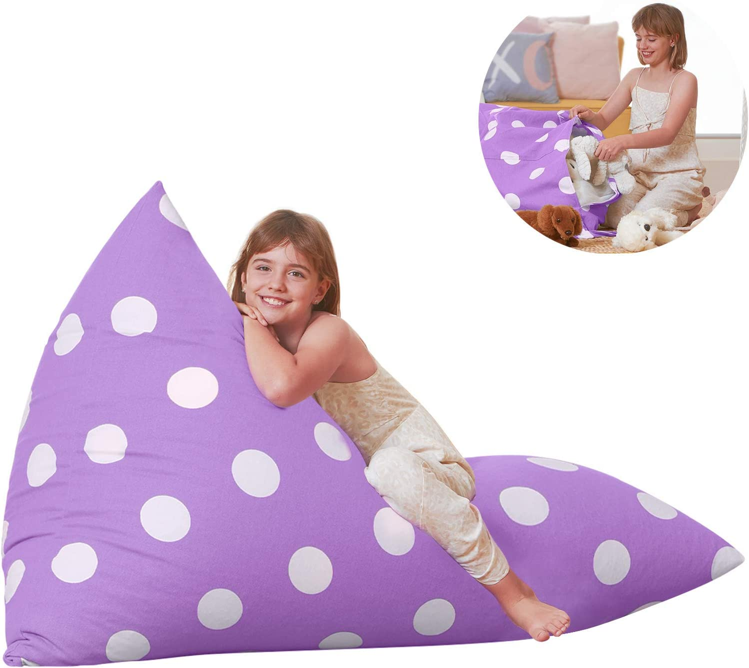 Aubliss Stuffed Animal Storage Bean Bag Chair Cover for Kids, Girls and Adults, Beanbag Cover Only, 23 Inch Long YKK Zipper, Premium Cotton Canvas, Xmas Gift Ideas(Light Purple dot)