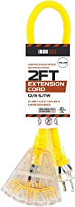 Outdoor Extension Cord - 12/3 SJTW Heavy Duty Yellow 3 Prong Extension Cable with 3 Electrical Power Outlets - Great for Garden & Major Appliances (2ft - Yellow)