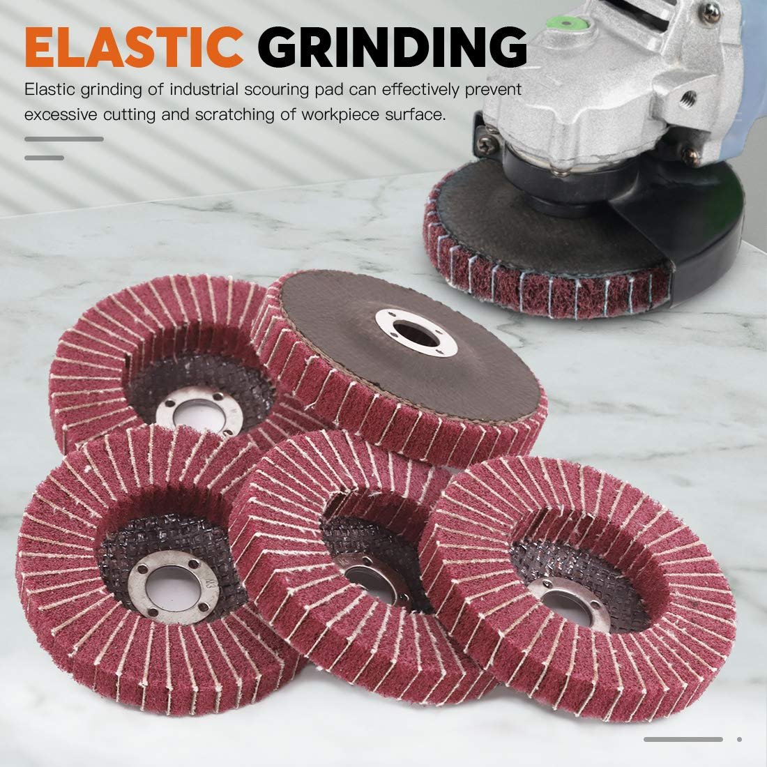 Nylon Polishing Discs for Marble Wood Metal 240 Grit Rustark 6 Pcs 4Nylon Fiber Flap Disc Abrasive Flap Wheel Scouring Pad Grinding Wheels for Angle Grinder Sanding Buffing Pads