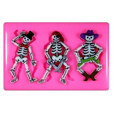 Esqueletos de vestidos de lujo Vaquero Pirata Sombrero de Copa Molde de silicona para la torta