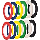 Coopay 12 Pieces 3 mm Width Chart Tape Whiteboard Gridding Tape Grid Marking Tapes Self Adhesive Graphic Tapes Artist Tape, 6 Colors