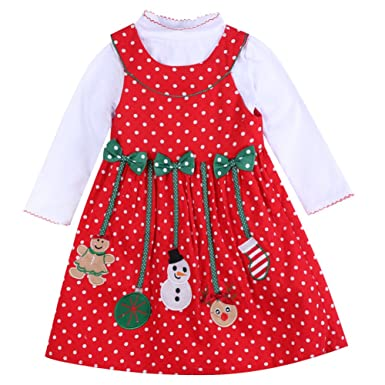 3f31615fb ONE S Baby Girls Christmas Dress Long Sleeve Polka Dot Snowman Xmas ...
