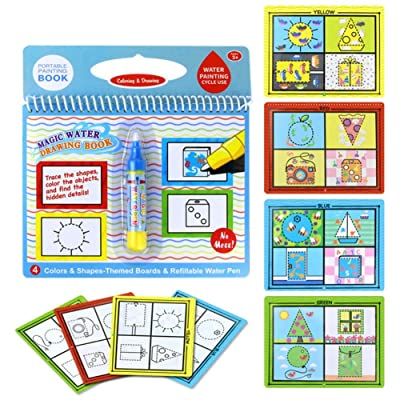 Novobey Magic Water Drawing Book Reusable Water Painting & Coloring Book With One Magic Pen Education Drawing Toy For Kids (graphic shape): Toys & Games