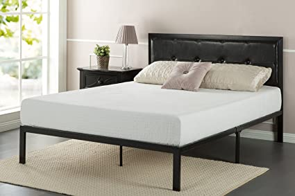 Amazon.com: Zinus Faux Leather Classic Platform Bed Frame with Steel ...