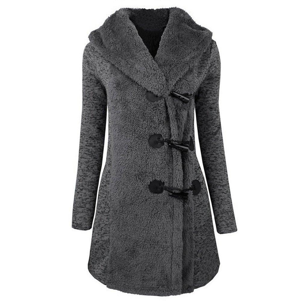 Mose Women Long Sleeve Winter Warm Slim Thicker Buttons Parka Hoodie Coat Overcoat (Blue, 2XL)