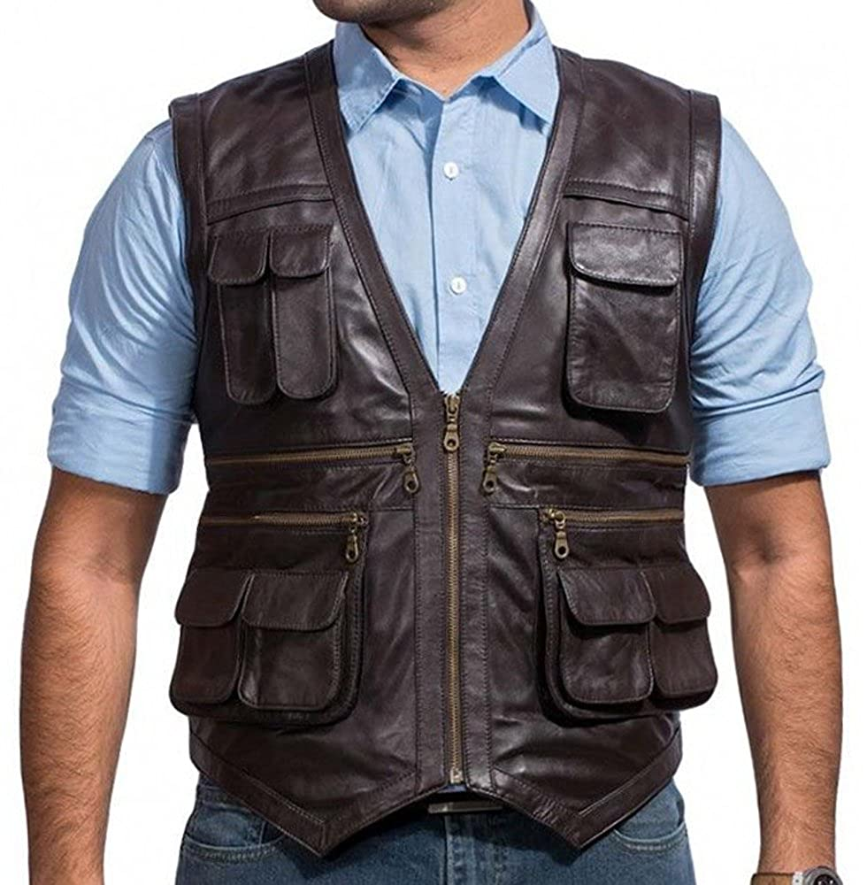 RLW Chris Pratt Jurassic World Vest in Brown Leather RLW-JW1