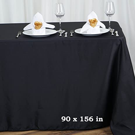 Efavormart Black 90x156u0026quot; Polyester Rectangle Tablecloths